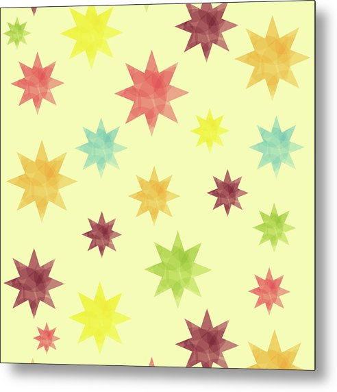 Colorful Watercolor Stars Pattern - Metal Print from Wallasso - The Wall Art Superstore