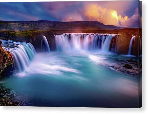 Colorful Waterfall At Sunset - Canvas Print from Wallasso - The Wall Art Superstore