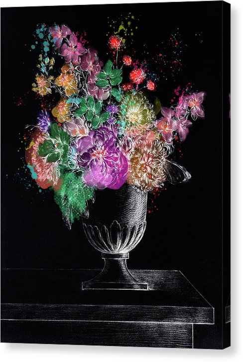 Colorized Flowers In A Vase, Bold With White Highlights - Canvas Print from Wallasso - The Wall Art Superstore