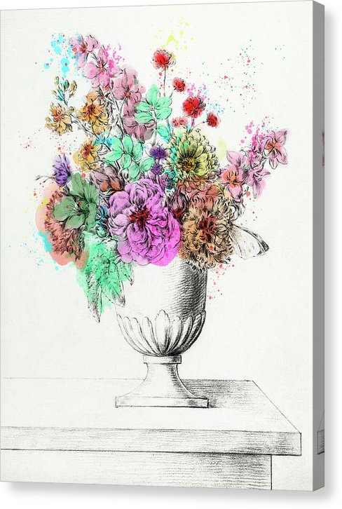 Colorized Flowers In A Vase by Jean Bernard, Antique Illustration - Canvas Print from Wallasso - The Wall Art Superstore
