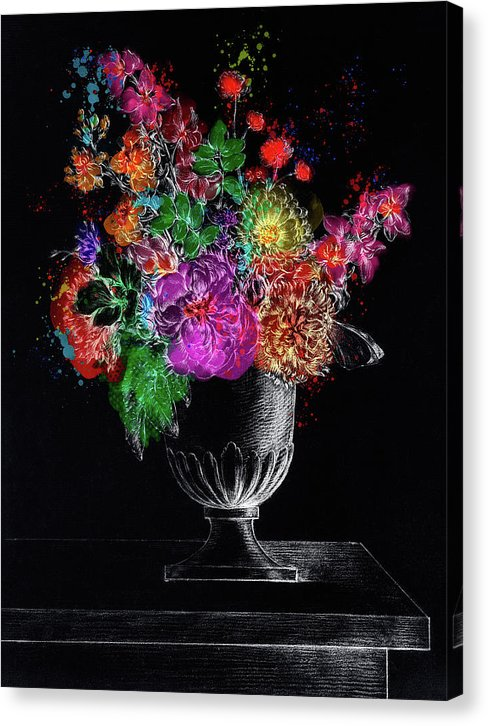 Colorized Flowers In A Vase, Extra Bold - Canvas Print from Wallasso - The Wall Art Superstore