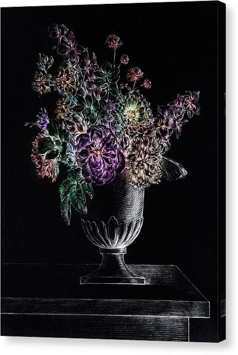 Colorized Flowers In A Vase With White Highlights - Canvas Print from Wallasso - The Wall Art Superstore
