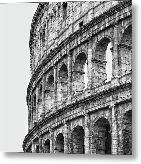 Colosseum Amphitheater In Rome, Black and White - Metal Print from Wallasso - The Wall Art Superstore
