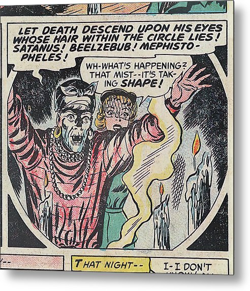 Witch Doctor Conjuring Satan, Vintage Comic Book - Metal Print from Wallasso - The Wall Art Superstore