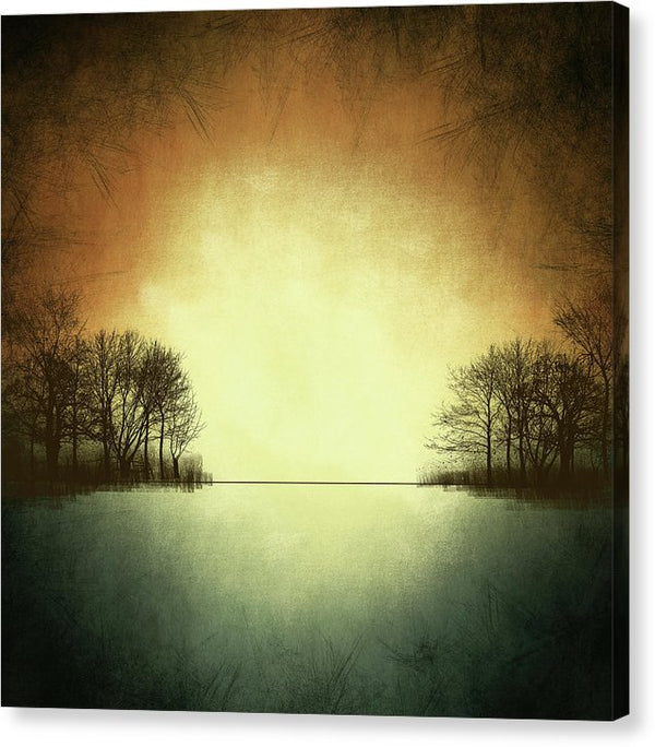 Contemporary Design of Lake With Trees - Canvas Print from Wallasso - The Wall Art Superstore