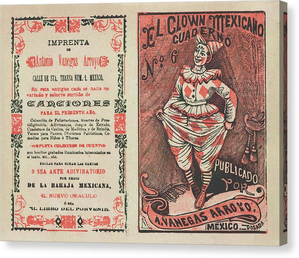 Cover For El Clown Mexicano Cuaderno by Jose Guadalupe Posada, Ca. 1880 - Canvas Print from Wallasso - The Wall Art Superstore