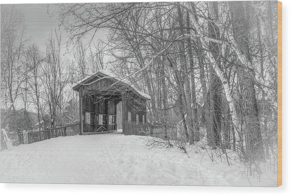 Covered Bridge In Snow - Wood Print from Wallasso - The Wall Art Superstore