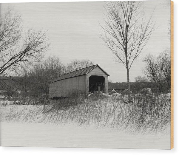 Covered Bridge In Winter - Wood Print from Wallasso - The Wall Art Superstore