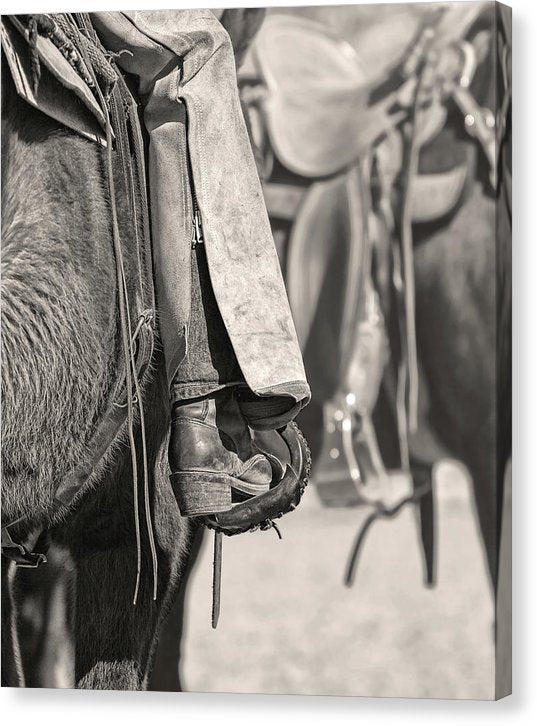 Cowboy Boot In Horse Stirrup, Sepia - Canvas Print from Wallasso - The Wall Art Superstore