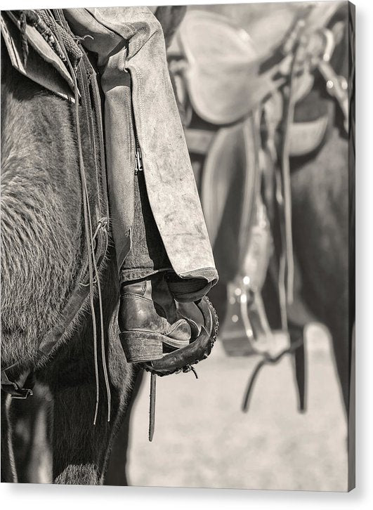 Cowboy Boot In Horse Stirrup, Sepia - Acrylic Print from Wallasso - The Wall Art Superstore