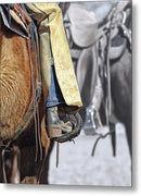 Cowboy Boot In Horse Stirrup - Metal Print from Wallasso - The Wall Art Superstore