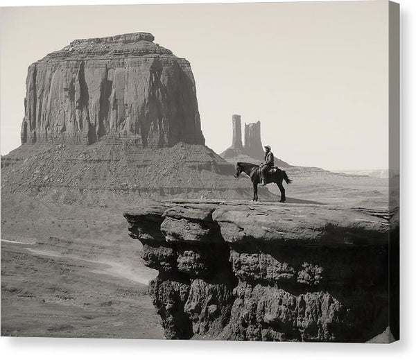 Cowboy On Horse At Monument Valley - Canvas Print from Wallasso - The Wall Art Superstore