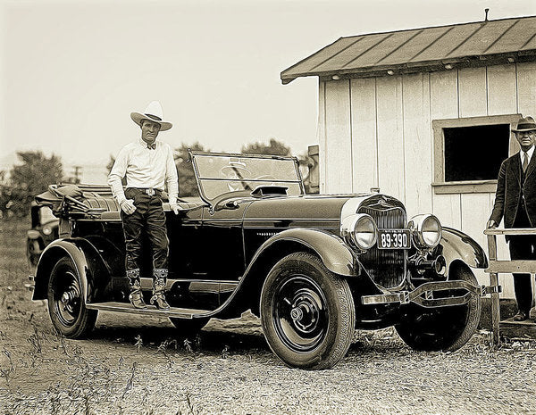 Cowboy Standing On Antique Car - Art Print from Wallasso - The Wall Art Superstore