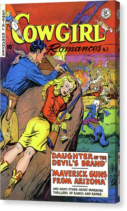 Cowgirl Romances, Vintage Comic Book - Canvas Print from Wallasso - The Wall Art Superstore