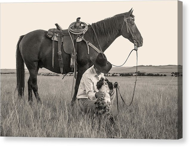 Cowgirl With Horse and Dog - Canvas Print from Wallasso - The Wall Art Superstore
