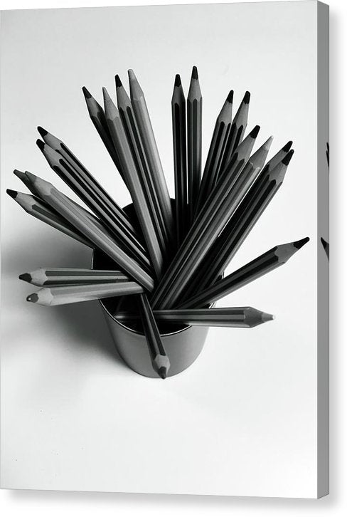 Cup of Pencils, Black and White - Canvas Print from Wallasso - The Wall Art Superstore