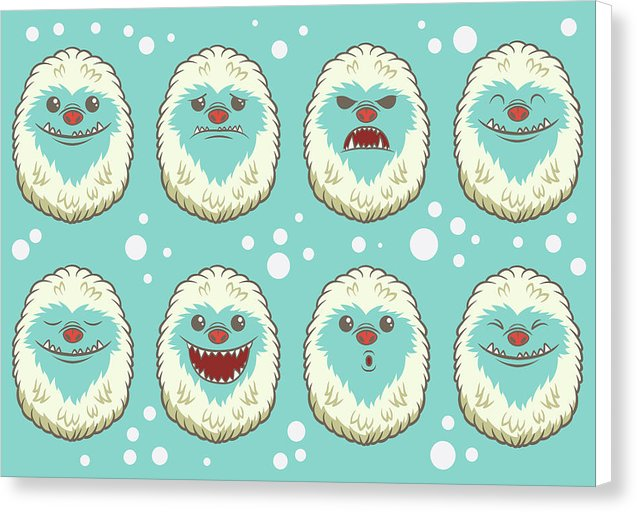 Cute Abominable Snowman Faces For Kids - Canvas Print from Wallasso - The Wall Art Superstore