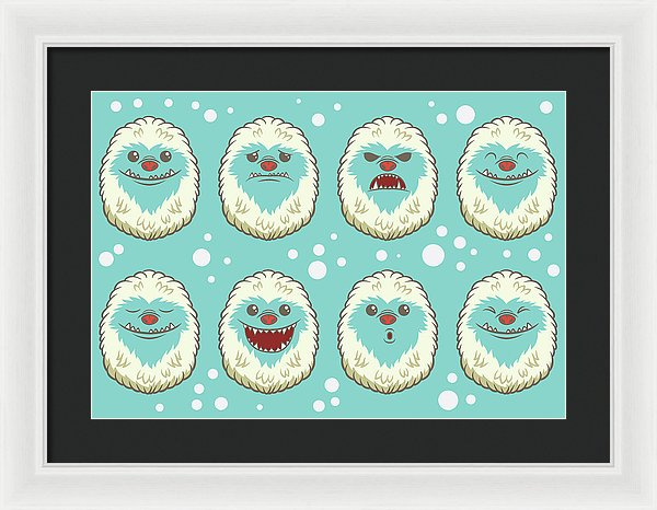 Cute Abominable Snowman Faces For Kids - Framed Print from Wallasso - The Wall Art Superstore