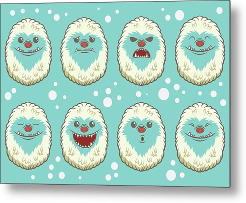 Cute Abominable Snowman Faces For Kids - Metal Print from Wallasso - The Wall Art Superstore
