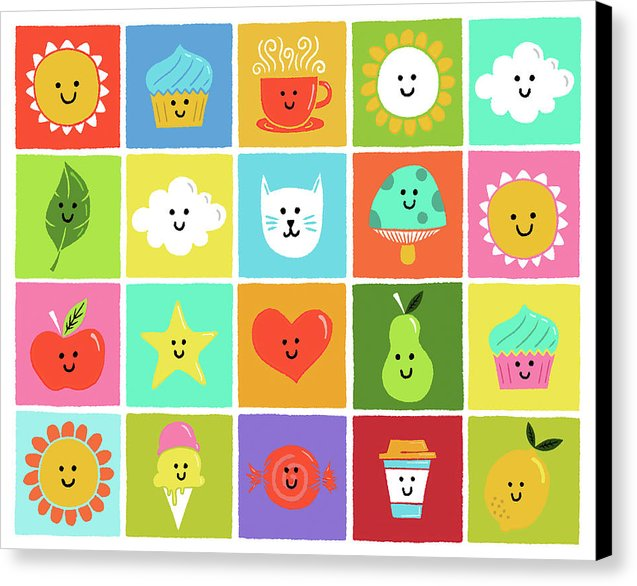 Cute and Colorful Doodles of Weather and Food For Kids - Canvas Print from Wallasso - The Wall Art Superstore