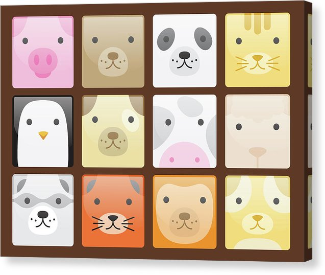 Cute Animal Faces For Kids - Canvas Print from Wallasso - The Wall Art Superstore