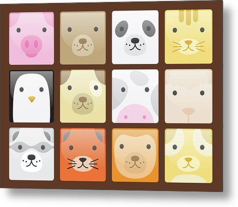 Cute Animal Faces For Kids - Metal Print from Wallasso - The Wall Art Superstore