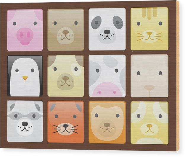 Cute Animal Faces For Kids - Wood Print from Wallasso - The Wall Art Superstore