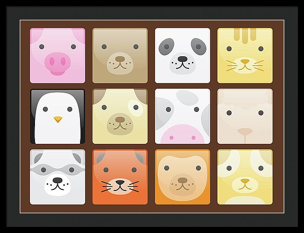 Cute Animal Faces For Kids - Framed Print from Wallasso - The Wall Art Superstore