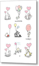 Cute Animals With Heart Balloons For Kids - Metal Print from Wallasso - The Wall Art Superstore