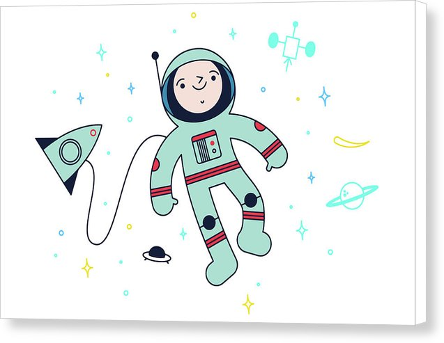 Cute Astronaut Doodle For Kids - Canvas Print from Wallasso - The Wall Art Superstore