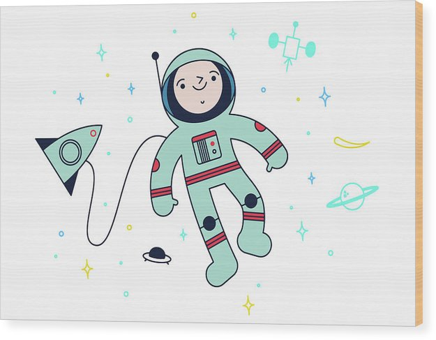 Cute Astronaut Doodle For Kids - Wood Print from Wallasso - The Wall Art Superstore