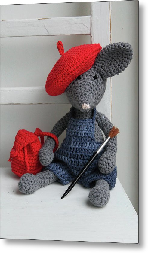 Cute Crocheted Mouse With Backpack, Beret, and Paintbrush For Kids - Metal Print from Wallasso - The Wall Art Superstore