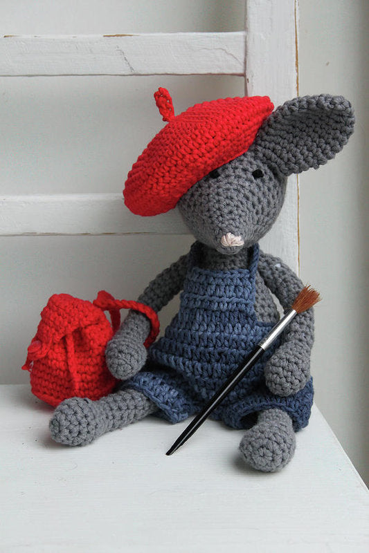Cute Crocheted Mouse With Backpack, Beret, and Paintbrush For Kids - Art Print from Wallasso - The Wall Art Superstore