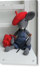 Cute Crocheted Mouse With Backpack, Beret, and Paintbrush For Kids - Acrylic Print from Wallasso - The Wall Art Superstore