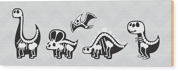 Cute Dinosaur Skeletons For Kids - Wood Print from Wallasso - The Wall Art Superstore