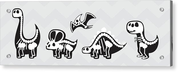 Cute Dinosaur Skeletons For Kids - Acrylic Print from Wallasso - The Wall Art Superstore