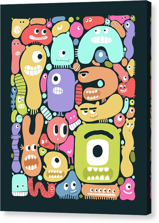 Cute Monster Doodles For Kids - Canvas Print from Wallasso - The Wall Art Superstore