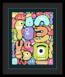 Cute Monster Doodles For Kids - Framed Print from Wallasso - The Wall Art Superstore