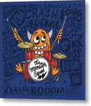 Cute Monster Drummer Doodle For Kids - Metal Print from Wallasso - The Wall Art Superstore