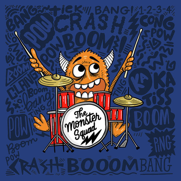 Cute Monster Drummer Doodle For Kids - Art Print from Wallasso - The Wall Art Superstore