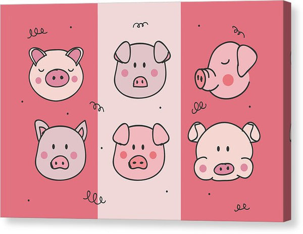 Cute Pig Doodles For Kids - Canvas Print from Wallasso - The Wall Art Superstore