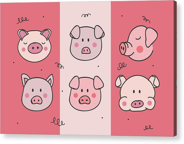 Cute Pig Doodles For Kids - Acrylic Print from Wallasso - The Wall Art Superstore