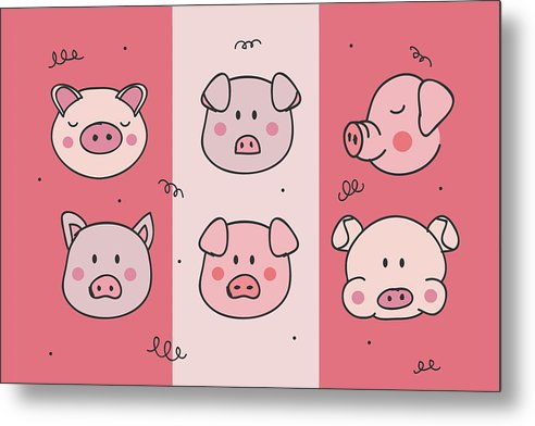 Cute Pig Doodles For Kids - Metal Print from Wallasso - The Wall Art Superstore