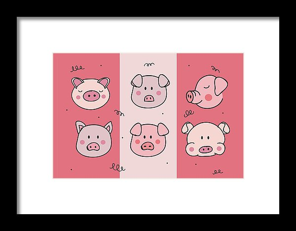Cute Pig Doodles For Kids - Framed Print from Wallasso - The Wall Art Superstore