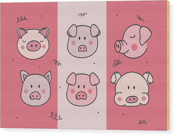 Cute Pig Doodles For Kids - Wood Print from Wallasso - The Wall Art Superstore