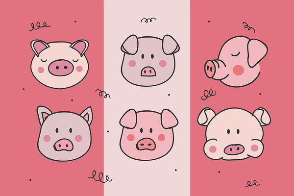 Cute Pig Doodles For Kids - Art Print from Wallasso - The Wall Art Superstore