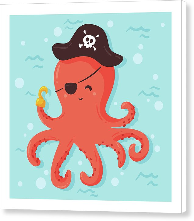 Cute Pirate Octopus For Kids - Canvas Print from Wallasso - The Wall Art Superstore