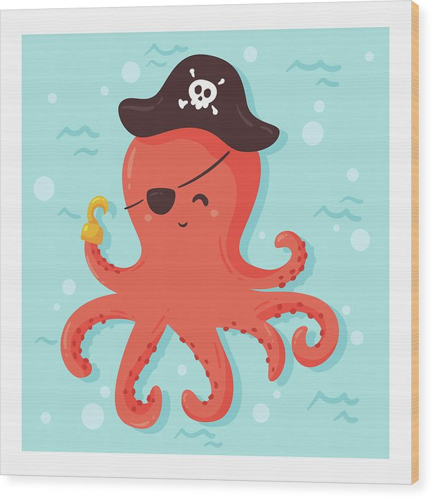 Cute Pirate Octopus For Kids - Wood Print from Wallasso - The Wall Art Superstore