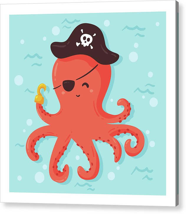 Cute Pirate Octopus For Kids - Acrylic Print from Wallasso - The Wall Art Superstore