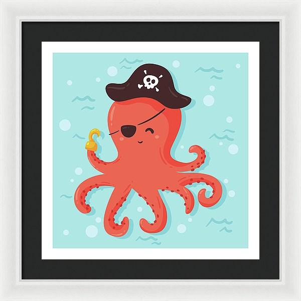 Cute Pirate Octopus For Kids - Framed Print from Wallasso - The Wall Art Superstore